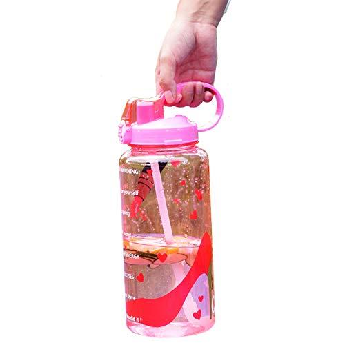 Franna 2L 3.8L Gallon Tritan Sport-Wasser-Flasche mit Stroh Big Protein Shaker Getränkeflaschen Flaschenkürbis Cup Krug BPA frei Außen Gym,Damen Pumps Bottle,3.8L 128 Unzen 1 Gallon