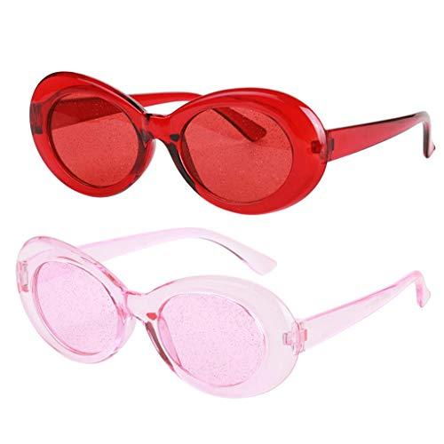 SDENSHI 2 / Set Gafas Transparentes Clout Gafas Kurt Cobain Gafas de Sol Novedosas para Mujer