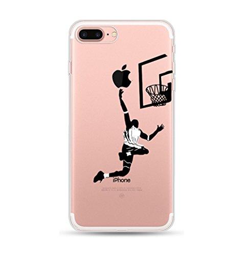 Freessom Coque iPhone 6/6s Silicone Motif Original Dessin Noir avec La Pomme Basketball Joueur Transparente Souple Anti Choc Drole Kawaii Fantaisie Ultra Fine Cadeau Pas Cher