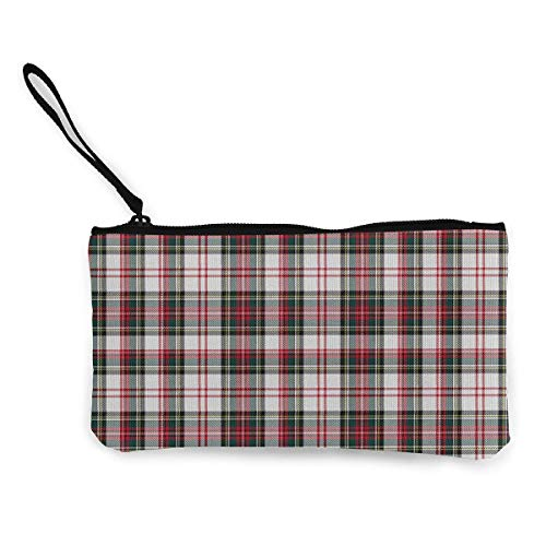 TTmom Damen Leinwand Geldbörse Portemonnaie Geldbeutel, Stewart Tartan White Plaid Outlander Pattern Canvas Coin Purse Retro Money Bag with Zipper