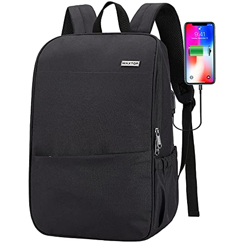 Deep Storage Laptop Backpack with USB Charging Port[Water Resistant] College School Computer Bookbag Fits 16 Inch Laptop (15.6 inch, Black)