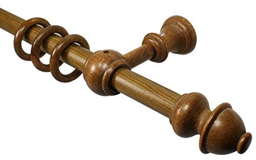 iso-design Eiche rustikal Gardinenstangen aus Holz mit 20 mm Durchmesser, 160 cm