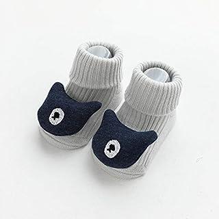 IAMZHL, Otoño Invierno Suave algodón bebé niñas Calcetines recién Nacido Dibujos Animados Animales bebé Calcetines bebé niño Calcetines Antideslizantes Piso Primavera-Light Gray bear-1-3 Years Old