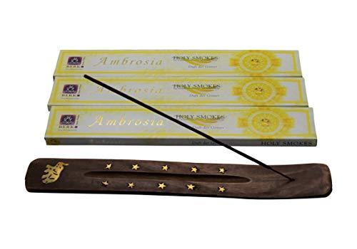Berk Ambrosia Der Duft der Götter das beliebteste Räucherstäbchen Starterset 3 Packungen mit Stäbchenhalter