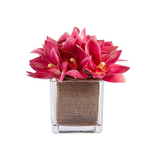 WXL Gefälschte Blume Künstliche Orchidee Topf künstliche Blume gefälschte Blume Desktop Dekoration Dekoration Esstisch Licht mit Glasvase Blume