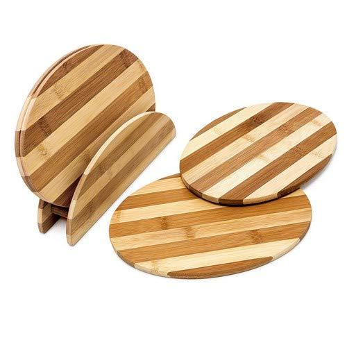 Relaxdays Frühstücksbrettchen aus Bambus HxBxT: ca. 0,5 x 25 x 18 cm Küchenbretter im Set 4 Stück mit Halter Schneidebretter gestreift beidseitig verwendbar mit Brettchenständer messerschonend, Natur