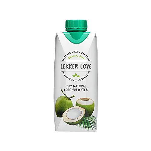 Lekker Love Kokoswasser, Natürliches Erfrischungsgetränk ohne künstliche Zusätze, Reines Kokosnussgetränk, 12er Pack (Tetra-Pak, 12 x 330 ml)