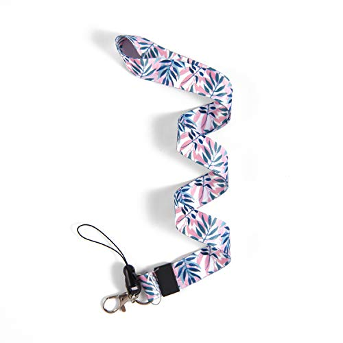 Cute Lanyards Lanyard Keys-Lanyards for Women/Men-ID Lanyard-Premium Soft Silky Wide Strapped Beautifully Printed Lanyard with for Id Badges, Card Holder, Keychain (Leaves)