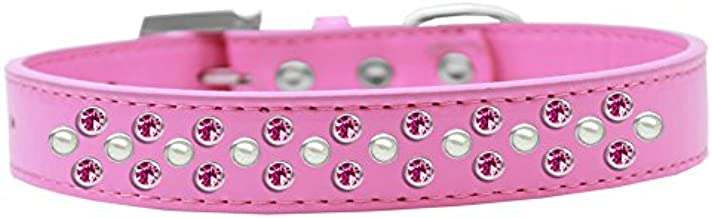 Mirage Pet Products Sprinkles Dog Collar Pearl And Bright Pink Crystals Size 20 Black