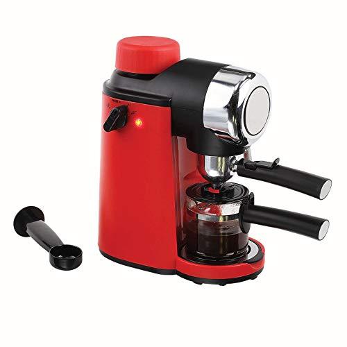 Eléctrica Cafetera expreso 4tazas espresso Cafetera de émbolo Rojo Jarra de cristal (Kleine Cappuccino con espumador de leche, Café polvo, 800W)