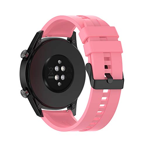 Cadorabo Pulsera de Silicona 22mm Compatible con Samsung Galaxy Gear S3 / Gear 2 en Rosa - Pulsera de Repuesto para Huawei Watch GT para Ticwatch Pro para Pepple Time para Amazfit Pace UVM