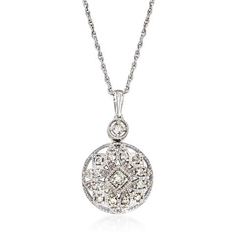 Ross-Simons 0.25 ct. t.w. Diamond Openwork Pendant Necklace in Sterling Silver. 18 inches