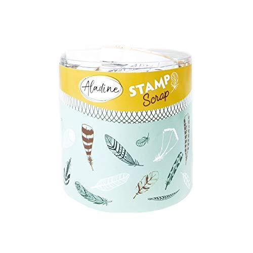 Aladine Stampo Scrap Federn – Stempel-Set für kreatives Carterie – Scrap, DIY, Basteln – Stempel-Set zum Mitnehmen + Stempelkissen schwarz – Motiv: Federn