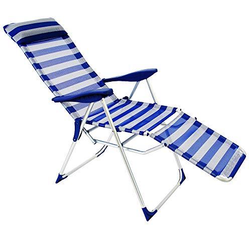 LOLAhome Sillón de Playa Plegable Azul Marino de Aluminio de 61x58x106 cm
