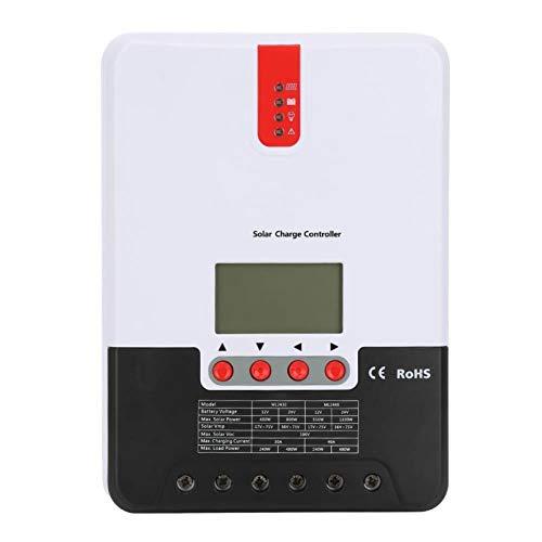 Fockety Controlador de Cargador Solar, Controlador de Cargador de Pantalla LCD, 20/30 / 40A 12V 24V para Tiempo de Almacenamiento de hasta 1 año Necesidades de(30A ML2430)