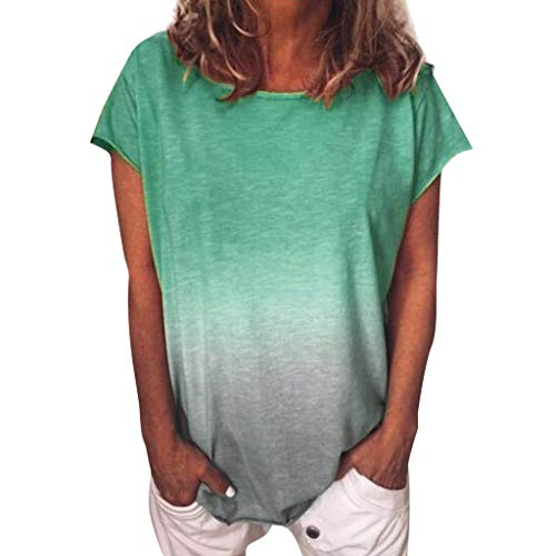 Xniral T-Shirt Damen Farbverlauf Tunika Bluse Tops Sommer Casual Patchwork Kurzarm Oberteil Tops Shirt(a-Grün,L)