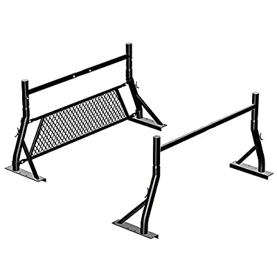 TMS 800Ibs Capacity Extendable Universal Steel Pickup Truck Rack with Removable Window Protector Headache Rack Protective Screen Ladder Lumber Utility Two Bar Set (Patent Pending) (27-3/8'')