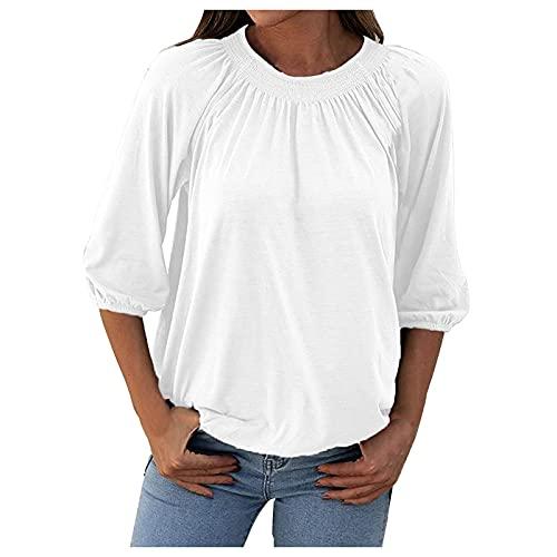 LalalukaTshirtDamenBluse Einfarbig Rundhals Falten 3/4 arm Oberteil BluseSommer FrauenTshirt T-ShirtBlusenTunikaTopBluseshirtT-ShirtHemdLongshirtKurzarmshirt