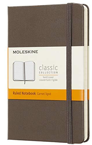 Moleskine Classic Notebook, Taccuino a Righe, Copertina Rigida e Chiusura ad Elastico, Formato Pocket 9 x 14 cm, Colore Marrone Terra, 192 Pagine