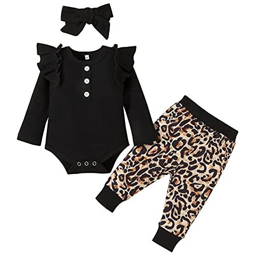 3 Piezas Ropa Bebe Niña 0-18 meses Conjunto Algodon Monos + Pantalón Impresión + Banda Ropa Bebe Recien Nacido Niño Invierno Otoño (0-3 meses, Negro)