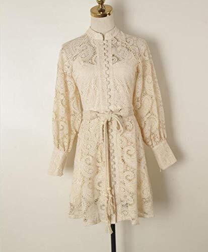Dresses Hübsche Kleid Kleider Damen Hochwertiges Hohles Spitzenkleid Damen Schwarz/Beige Laternenärmel Einreihiger Ste