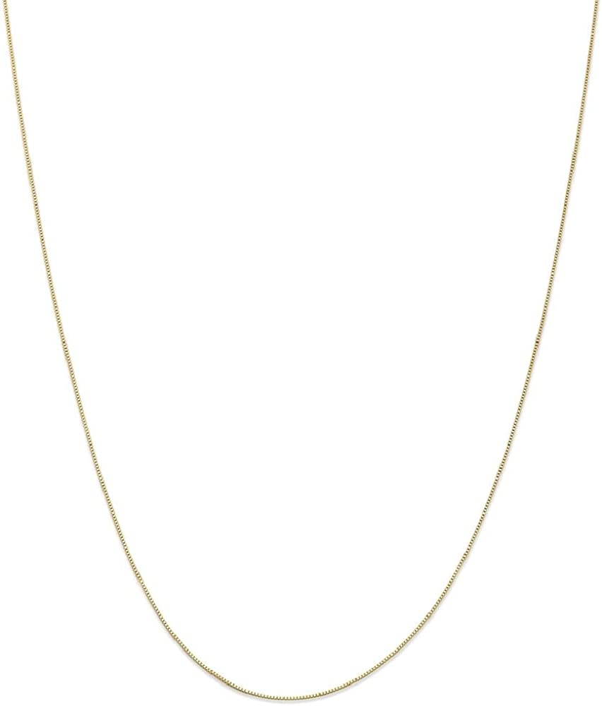 14k Yellow Gold .5mm Link Box Spband Ring Band Clasp Chain Necklace 24 Inch Pendant Charm Fine Jewelry For Women Gifts For Her