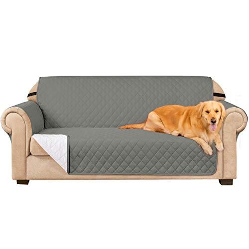 subrtex Gesteppt Sofabezug Reversibel Möbelschutz mit Gummiband Stuhlüberzüge für Wohnzimmer Sessel Schonbezüge Möbelschoner für Sofas(3 Sitzer, Grau)