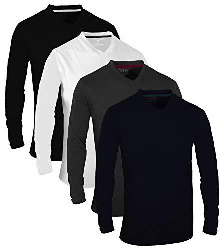 FULL TIME SPORTS® Tech Confezione da 4 Magliette Casual a Manica Lunga assortite con Scollo a V, X-Large - Navy Bianca Carbone Nero
