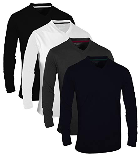 FULL TIME SPORTS® Tech 4 Pack Camisetas de Manga Larga variadas y Casual con Cuello en V, X-Large - Navy Blanco Carbón Negro