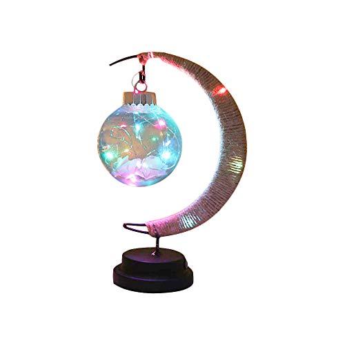 Lámpara LED de mesa de noche de cáñamo cuerda de luna lámpara de escritorio a batería de alambre de cobre para sala de estar dormitorio