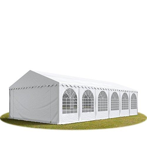 Festzelt XXL Partyzelt 6x12m, hochwertige 550g/m² PVC Plane in weiß, 100% wasserdicht, vollverzinkte Stahlkonstruktion mit Verbolzung, Seitenhöhe ca. 2,6 m