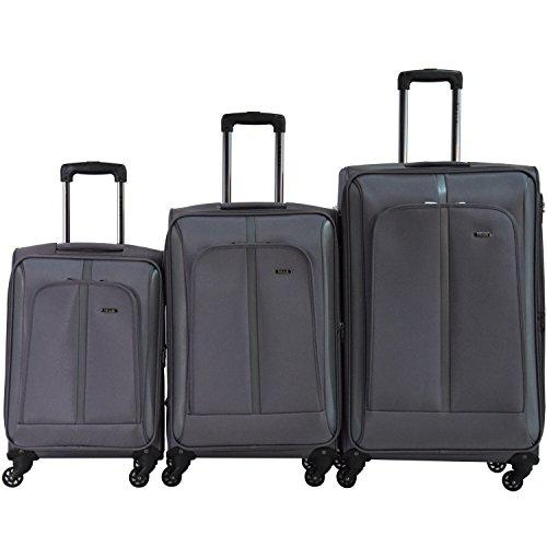 Shaik® Serie SOMLA Design BSL 3 Größen M | L | XL | Set | Softcase Weichgepäck Kofferset, 4 Doppelrollen, Zahlenschloss (3er Set, Grau)
