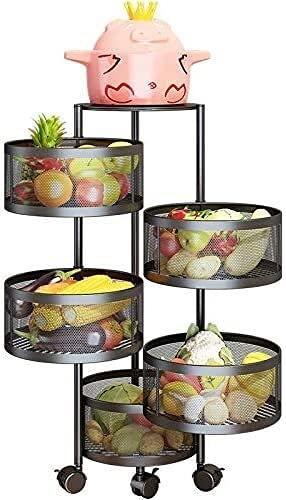 Chilequano Rack de vegetales giratorias, estatificación de vegetales de cocina de 5 capas redondo de pie de piso múltiple rotable de vegetal para vegetal para estante de almacenamiento de frutas de fr