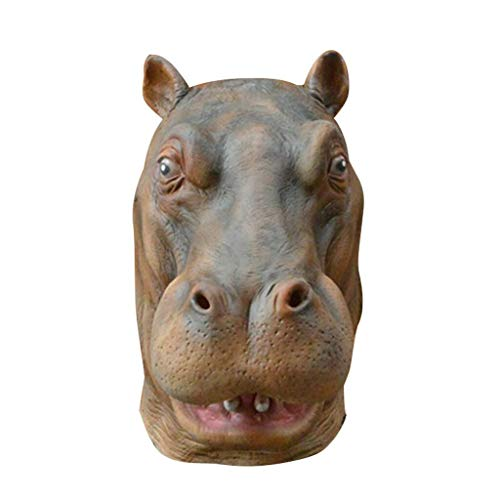 TIREOW_Halloween realistische Latex Nilpferd Kopf Maske Tier Masken Kostümzubehör Passt den Meisten Erwachsenen Männer Frauen für Mottopartys Halloween Bar