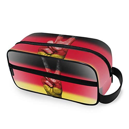 Toilettas voor op reis, opslag van vrede hand Duitsland vlag make-up tas draagbare dames gereedschap cosmetische trein geval