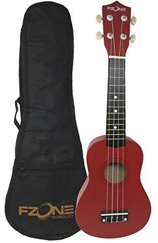 rockmusic Ukelele soprano FZone UK02SB5-RD con funda acolchada en color rojo