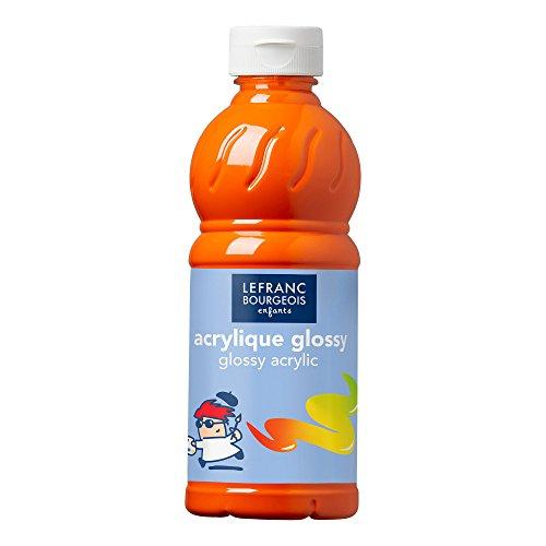 Lefranc Bourgeois Educación, acrílico Glossy, Pintura acrílica para niños, Bote de 500 ML Color Naranja, Pinturas para niños y Manualidades, para Cualquier Superficie