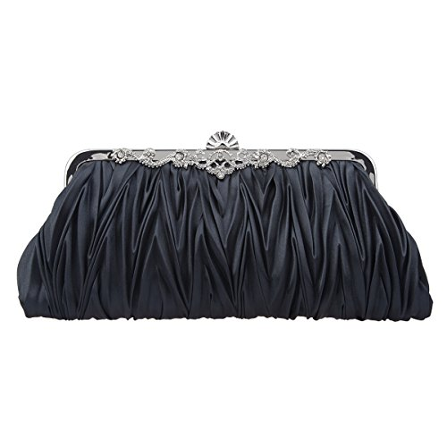 Bonjanvye Satin Pleated Clutch Purses for Women Evening Clutches for Wedding and Party Lake Black