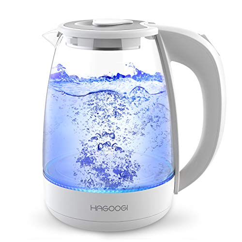 HAGOOGI 電気ケトル ガラス 1.2L 急速沸かし ケトル 耐熱ガラス 沸騰自動OFF機能 空焚き防止機能 湯沸かしケトル PSE認証済み