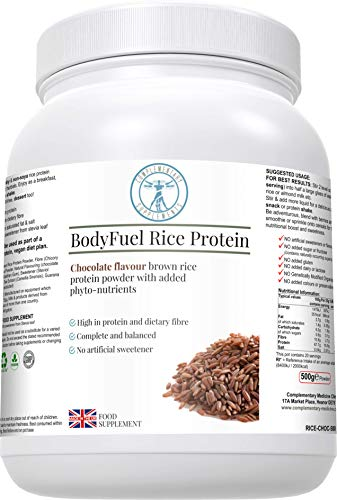 Complementary Supplements | BodyFuel Brown Rice Protein Powder Plus Chicory, Green Tea & Guarana Seed Extract | Hypoallergenic | NO GMOs | Vegan | 500g
