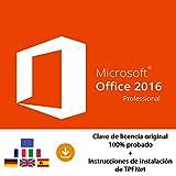 MS Office 2016 Professional Plus 32 Bits y 64 Bits - Clave de Licencia Original por Correo Postal y Electrónico + Instrucciones de TPFNet - Envío Máximo 60min