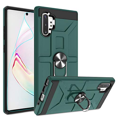 Atump Note 10 Plus Case with HD Screen Protector, 360°Rotation Ring Holder Kickstand [ Magnetic Car Mount] PC+ TPU Phone Case for Samsung Galaxy Note 10 Plus, Midnight Green