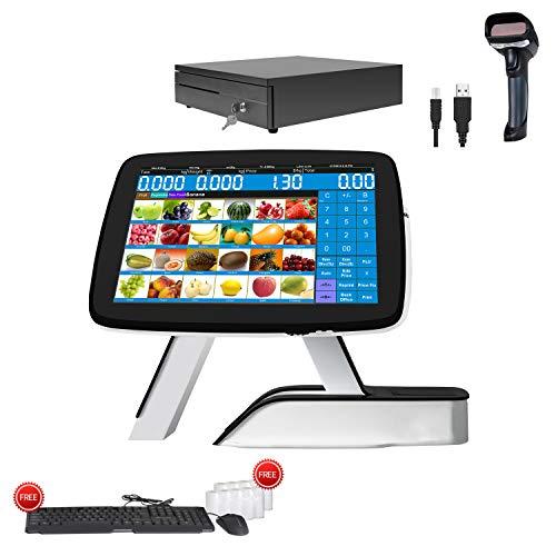 Caisse enregistreuse pour petites entreprises avec imprimante de reçus thermique intégrée + scanner de codes-barres + tiroir-caisse