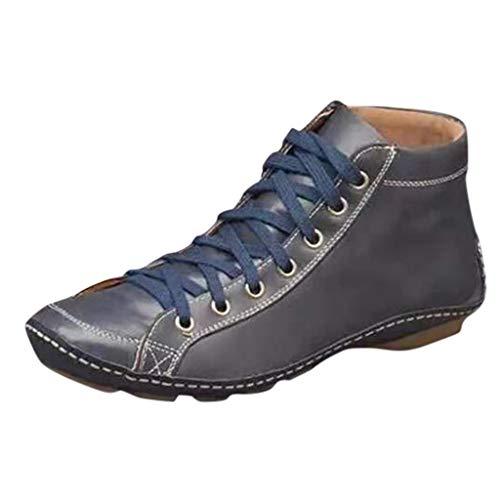 NPRADLA Kunstleder Stiefeletten Herbst Vintage Schnürschuhe Damen Bequeme Flache Fersenstiefel Reißverschluss Kurzer Boot(39,C-Blau)
