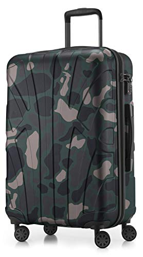 Suitline - Maleta rígida, Equipaje de Viaje, TSA, 66 cm, Aprox. 58 litros, 100% ABS Mate, Camuflaje