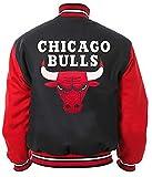 EU Fashions Chaqueta de béisbol para hombre con logo de Chicago Bulls marrón 100% lana, color negro y rojo, Chaqueta de lana de Chicago Bulls, XXXXL