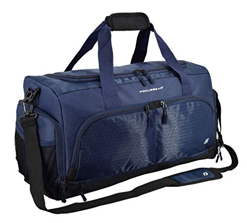 Ultimate Gym Bag 2.0: The Durable Crowdsource Designed Duffel Bag with 10 Optimal Compartments Including Water Resistant Pouch (Blue, Medium (20'))
