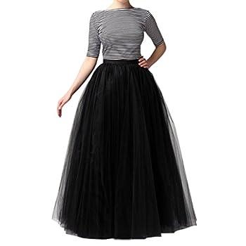 WDPL Women s Long Tutu Tulle Skirt A Line Floor Length Skirts  Black X-Large