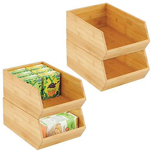 mDesign Bamboo Stackable Food Storage Organization Bin Basket - Wide Open Front for Kitchen Cabinets, Pantry, Offices, Closets, Holds Snacks, Dry Goods, Packets, Spices, Teas - 4 Pack - Natural Wood