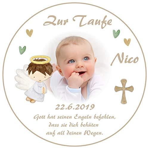 Tortenaufleger Tortenbild Taufe beige Engel mit Wunschtext und Foto / 20 cm Ø TA658